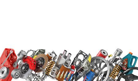 Grens van auto-onderdelen op wit wordt geïsoleerd. Auto service.