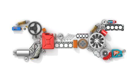 Auto-onderdelen in de vorm van de auto sleutel. Stockfoto