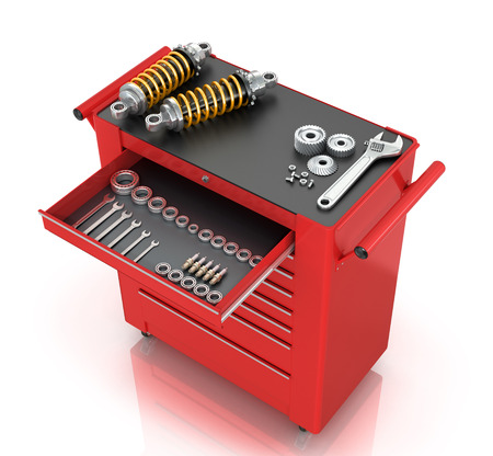 Red tool box of car parts isolated white background. Stock Photo