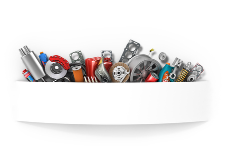 Border of auto parts isolated on white.