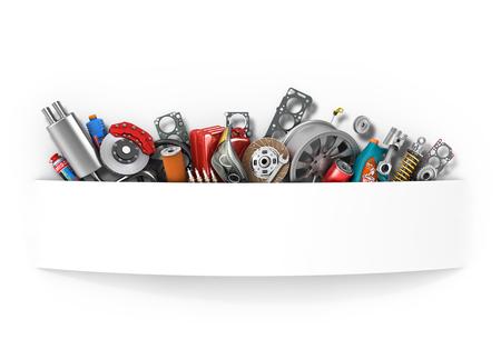 Grens van auto-onderdelen op wit wordt geïsoleerd. Stockfoto