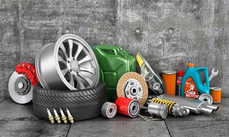 auto parts: Auto parts on concrete wall.