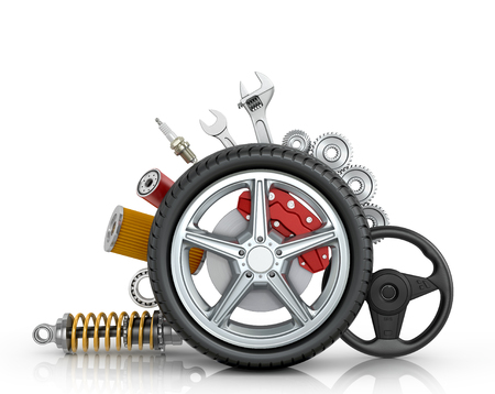 damper: Car parts around the wheel isolated on white background.