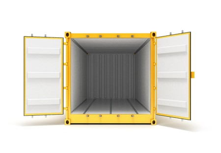 front view: Open Cargo Container Open Doors Front view Stock Photo