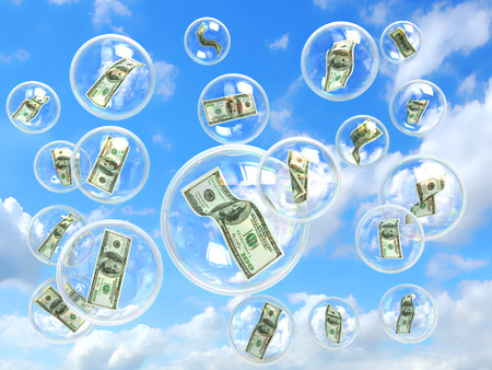 money sphere: Money in soap bubbles concept of risky financial investments