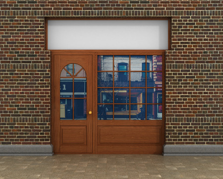 hollow walls: Shop Front. Exterior horizontal windows empty for store product presentation or design.