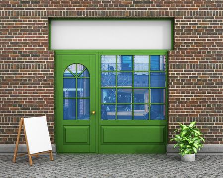 Winkel voorkant. Exter horizontale ramen lege winkel voor productpresentatie of ontwerp. Stockfoto