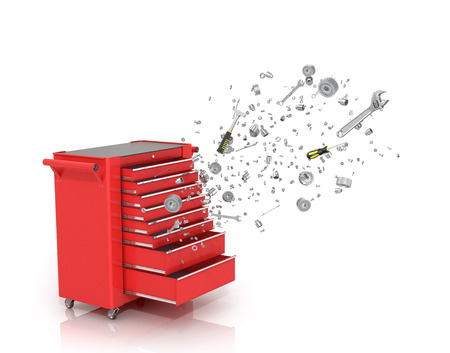 emerge: Red tool box from which emerge the tools and parts isolated white background.