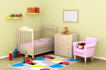 Het gezellige interieur van de kinderkamer