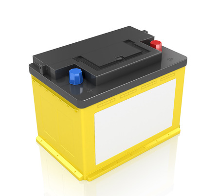 12v: Automobile Batteries isolated on white background. 3D image.