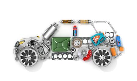 piezas de automóviles en forma de coche. Para utilizar en la publicidad de piezas de repuesto para vehículos de pasajeros y de entretenimiento.