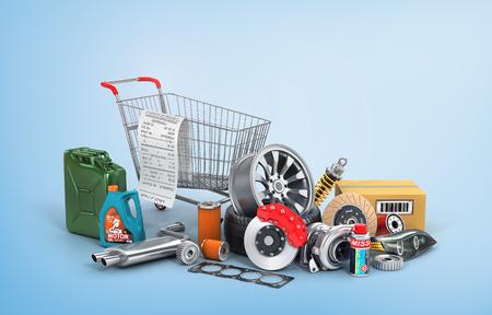 Concept van auto-onderdelen winkelen. Vele autodelen die dichtbij karretje op een blauwe achtergrond winkelen. Automotive winkel voor manden.