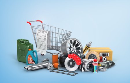 Concept of auto parts shopping. Many auto parts near shopping trolley on a blue background. Automotive basket shop. Standard-Bild