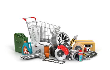 Concept van auto-onderdelen winkelen. Veel auto-onderdelen in de buurt van het winkelen karretje dat op een witte achtergrond. Automotive mand winkel.