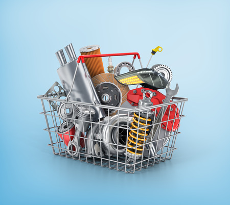 vehicle part: Basket from a shop full of auto parts. Auto parts store. Automotive basket shop. Stock Photo