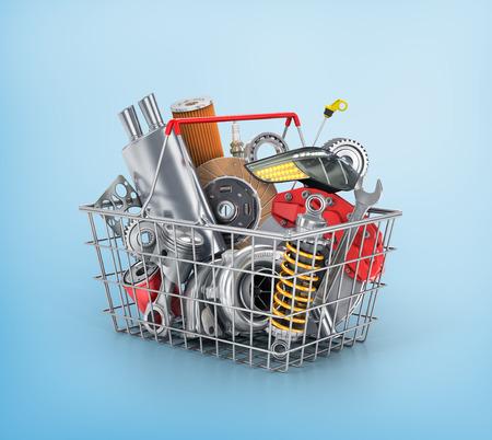 Mand van een winkel vol met auto-onderdelen. Auto-onderdelen winkel. Automotive mand winkel.