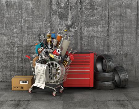 Ricambi auto con carrello della spesa in garage. negozio paniere Automotive. memoria dei ricambi auto.