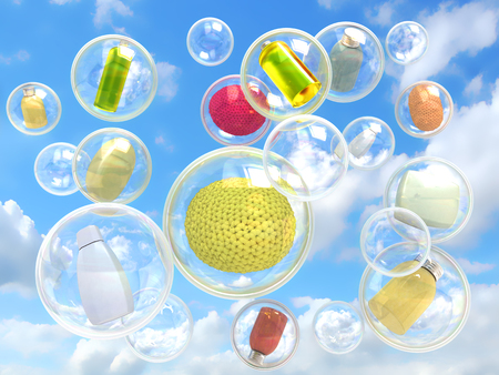 flower bath: hygiene flying in soap bubbles concept of purity and self-care
