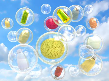 autocuidado: la higiene volando en burbujas de jab�n concepto de pureza y autocuidado Foto de archivo