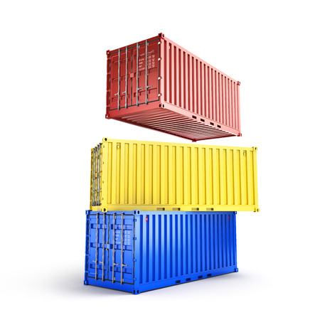 sea freight: A stack of three sea freight containers vector illustration isolated on white background Stock Photo