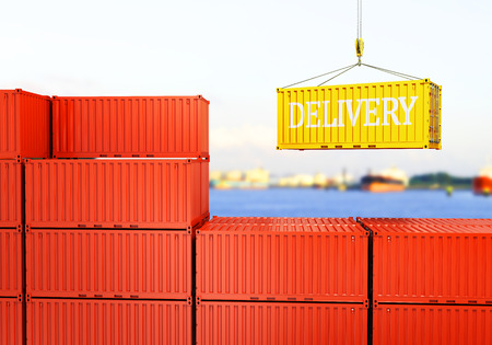 container box: industrial port with containers Loading container against the backdrop of the sea port Stock Photo