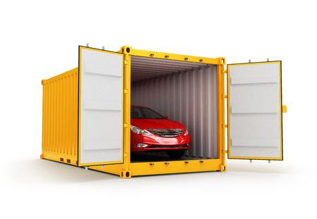 Transport ładunków, przemieszczanie i doręczanie pojęcie, czerwony samochód wewnątrz żółtego pojemnika ładunkowego na białym tle