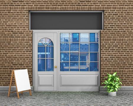 Vitrine. Exter fenêtres horizontales vident pour votre magasin présentation du produit ou de la conception.
