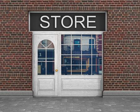 Winkel voorkant. Buitenkant horizontale ramen leeg voor uw winkel productpresentatie of ontwerp. Stockfoto