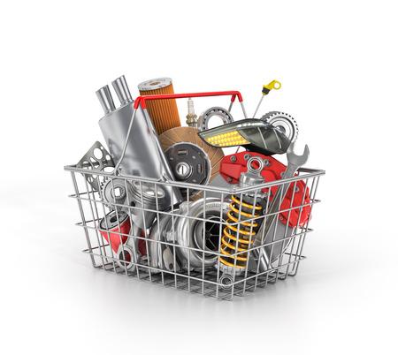 Basket da un negozio pieno di parti di auto. memoria dei ricambi auto. negozio paniere Automotive. Archivio Fotografico