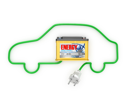 12v: Automobile Batteries with an electric cord in a car silhouette, isolated white background.