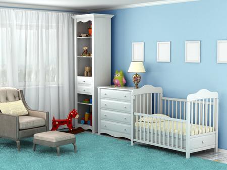 stanza del bambino, dove c'è una sedia, giocattoli, mobili, pavimenti, degli infissi sul muro Archivio Fotografico