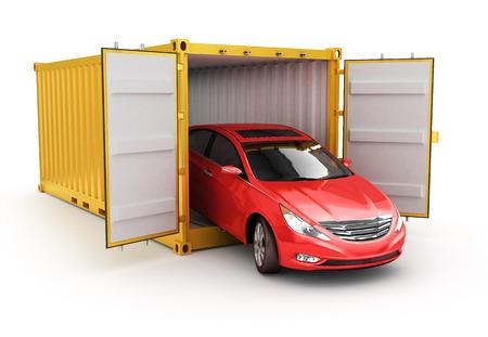 Vrachtvervoer, transport en levering concept, rode auto binnen gele vrachtcontainer geïsoleerd Stockfoto