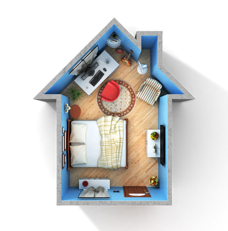 realization: Concept of home. Flat full of things in form of house in top view. Rent, buy and realization concept.