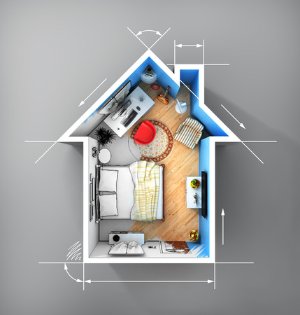 realization: Concept of home. Flat full of things in form of house in top view with dimensions. Rent, buy and realization concept. Stock Photo