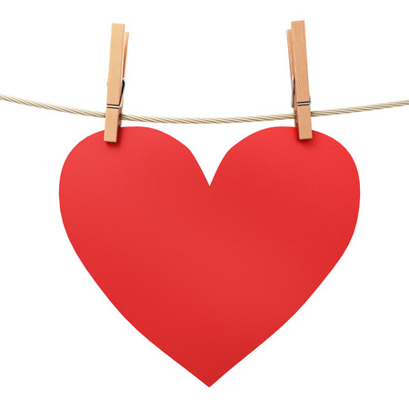 attached: paper heart attached to a rope clothespin