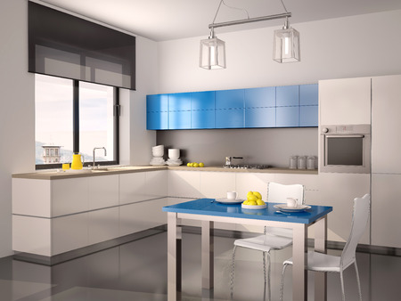 blue white kitchen: 3d illustration of interior of modern kitchen in white blue gray tones