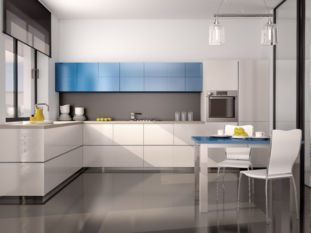 kitchen illustration: 3d illustration of interior of modern kitchen in white blue gray tones