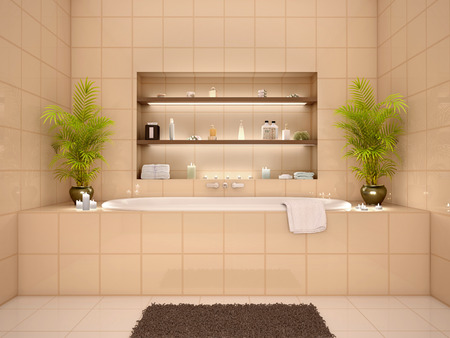 niches: 3d illustration of bathroom interior in warm tones with niches in the wall