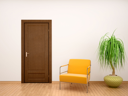 Illustration 3d des Stuhl- und Blumentopfes nahe der Tür