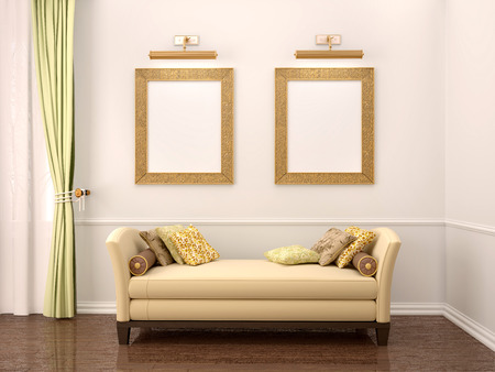 furnished: 3d illustration of comfortable interior, two frames over the sofa with pillows
