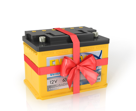 wattage: Automobile Batteries shrouded red ribbon with a bow, isolated white background.