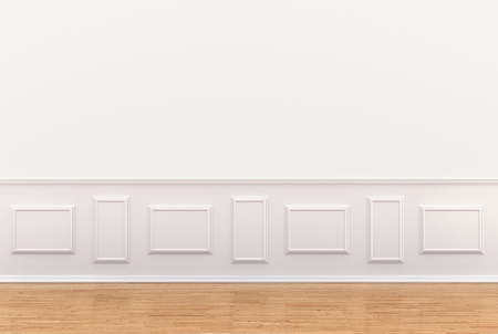 moldings: 3d render of white interior with panels on wall Stock Photo