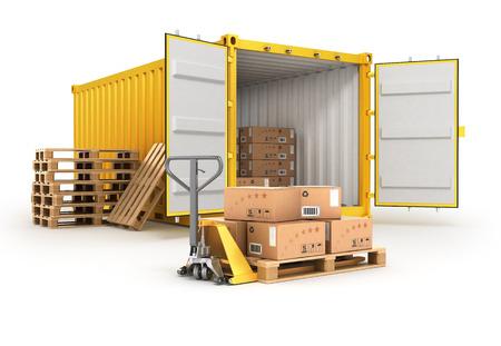 open container pallets met dozen en hand truck op wit wordt geïsoleerd