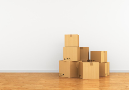 Cardboard box in an empty apartment. The concept of moving to a new with gelatin