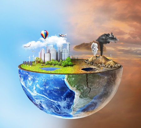 earth pollution: Eco concept. Half sphere of earth with light side and darker side. One side is eco city, different side is empty and dry ground with mountains.