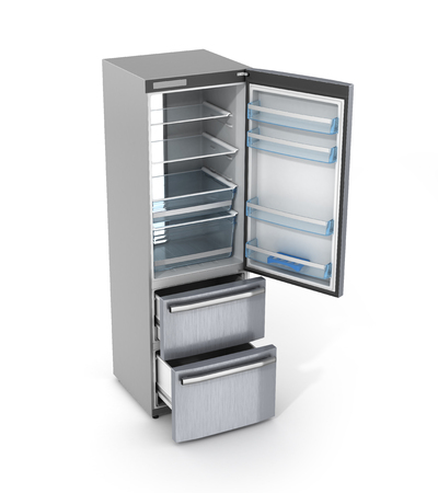 cooler boxes: isolated opened empty refrigerator on white background. 3d illustration