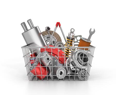 Mand van een winkel vol met auto-onderdelen. Auto-onderdelen winkel. Automotive mand winkel. 3d illustratie Stockfoto
