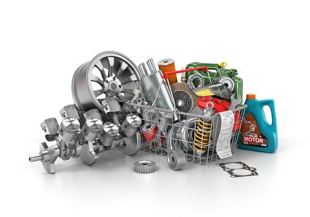 Basket da un negozio pieno di parti di auto. memoria dei ricambi auto. negozio paniere Automotive. illustrazione 3D