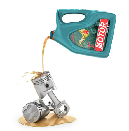 Pouring engine oil from its plastic container. Motor oil. 3d illustration Standard-Bild