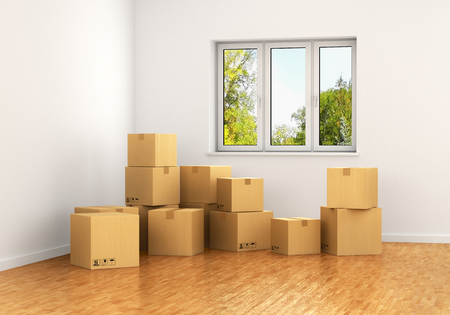 moving box: Empty room with a window and white walls with moving cardboard boxes on the floor. 3d illustration